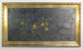 vintage pear tree branch oil painting before cleaning