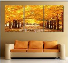 framed 3 panel large golden avenue landscape wall art paintings gold abstract 3 panel canvas art feng shui picture xd01633 wall art paintings gold oil