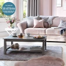 pastel pink living room with pink argos thornton sofa and grey rug and curtains with argos pink rug