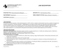 Dentist Operation Manager Job Description Templates At