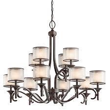kichler lacey 42 in 12 light mission bronze vintage hardwired etched glass tiered chandelier