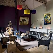 Small Picture Purple living room with grey velvet sofa Living room decorating