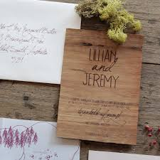 earthy wood and floral wedding invitation from akimbo Real Wood Wedding Invitations earthy wood handwriting wedding invitation akimbo detail real wood wedding invitations custom