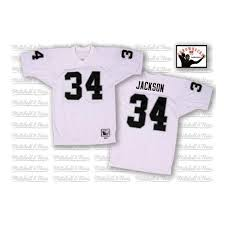 Jackson Raiders Mitchell Jersey Bo And 34 White Ness Oakland Throwback Authentic Nfl