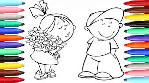 Funny Girl And Boy Coloring Pages L Kids Drawing Coloring Videos