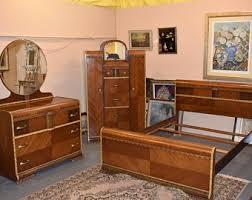 Art deco furniture Authentic Mid Century Modern Art Deco Waterfall Full Size Bedroom Set Vintage Furniture Etsy Art Deco Furniture Etsy