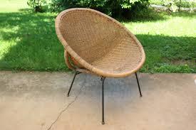 Mid Century Modern CALIF ASIA Rattan Hoop Chair Wicker Lunar Mid Century Round Wicker Chair