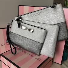 victoria s secret sparkle bow cosmetic bag trio