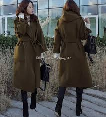 2018 new fashion korean plus size women hooded wool coat army green cardigan woolen overcoat loose long wool blend coat winter outwear with belt from
