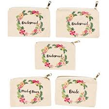 bridal shower makeup bag 5 pack canvas cosmetic pouches for wedding favors bachelorette
