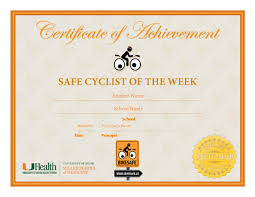 Principal Award Certificate Student Award Safe Cyclist Of The Week Certificate Kidz