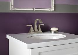 Wall Bathroom Faucet White Single Bathroom Sink With Purple Painted Walls And Brushed