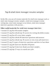 Top 40 Retail Store Manager Resume Samples Custom Resume Sample For Store Manager