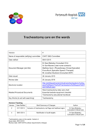 Tracheostomy Care On The Wards Policy