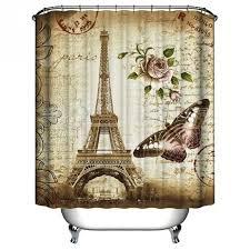 Eiffel Tower Home Decor Accessories Paris Eiffel Tower Waterproof Kids Bathroom Shower Curtain Retro 49