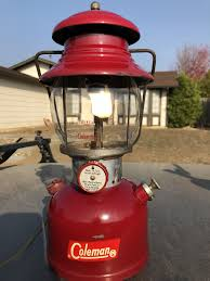Coleman 200a White Fuel Camping Lantern Dark Red In Color Made
