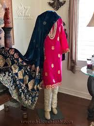 Pink Velvet Suit Design Navy Hot Pink Velvet Shawl Suit