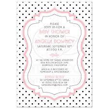 Baby Shower Invite Chic Retro Black White Polka Dots Pink
