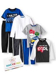 365 Kids From Garanimals 365 Kids From Garanimals Boys 4 10 Kid Pack With Long Sleeve T Shirts Sweatpants Jeans 7 Piece Outfit Set