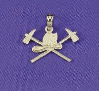 14k jewelry axe and helmet firefighter pendant
