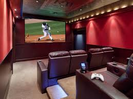Home Theater Room Design Ideas Red And Beige Cinema Room At Home Basement  Home Theaters And