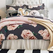 the emily meritt bed of roses duvet cover sham black blush