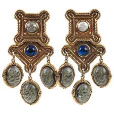 zoe coste paris baroque chandelier clip on earrings poured glass cabochon for