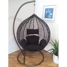 outdoor swing hanging pod tze wicker rattan egg chair black