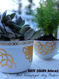 gold decoupaged succulent planters