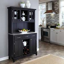 hutch kitchen furniture. Black And Stainless Steel Buffet With Hutch Kitchen Furniture