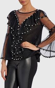 forever unique san black top with pearl detail wf4306