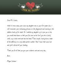 Thank You Teachers Form Letters To Teachers