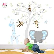 elephant and giraffe mint blue and grey nursery wall stickers on elephant nursery wall art uk with jungle animal nursery wall art stickers