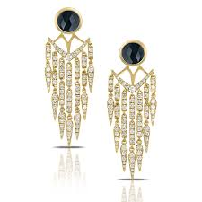 doves 18k yellow gold onyx and diamond chandelier earrings