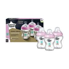 Tommee Tippee Pink Decorated Bottles Tommee Tippee Closer to Nature 100 Piece Decorated Bottles Pink No 57