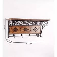 wood wrought iron fancy wall bracket book rack wall shelf with coat hanger best s in india rediff ping