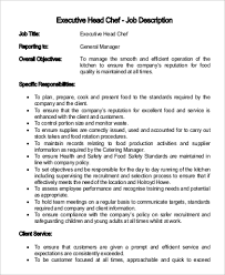 executive head chef job description what is the job description of a chef