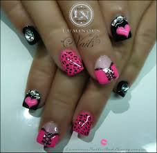 View Images Sculptured acrylic with mani q black tickled pink ...