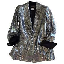 Chanel Dull Silver Jacket Size Fr48 Chanel Silver Size 48 Fr