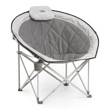 com core equipment folding oversized padded moon round saucer chair with carry bag gray sports outdoors