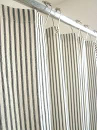 ticking shower curtain french country brindle gray stripe with ruffled bottom blue white