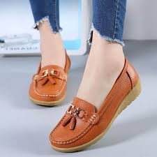 Online Shop 2020 <b>New Women</b> Shoes Loafers <b>Genuine</b> Leather ...