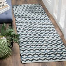 safavieh hand woven montauk flatweave ivory blue black cotton runner rug