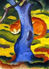 cat behind a tree franz marc oil painting