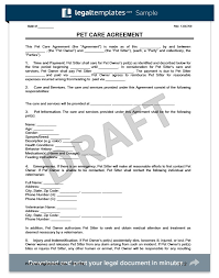 Pet Information Template Pet Care Agreement Create A Free Form Live In Carer Contract