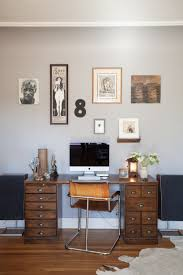 home office workspace wooden furniture. Home Office Wood Desk, Grey Wall Workspace Wooden Furniture