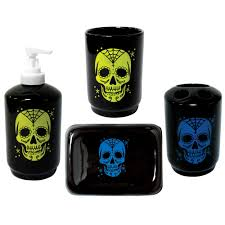 Sugar Skull Bathroom Decor Sugar Skull Tattoo Bath Set Rockabilly Retro Punk Gothic Day Dead