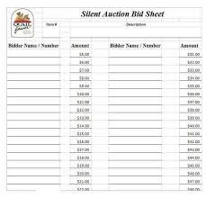 auction bid sheet template free silent auction bid sheet template sample danetteforda