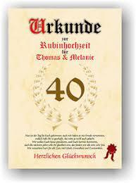 Rubinhochzeit Urkunde Zum 40 Hochzeitstag Geschenkidee Rubin