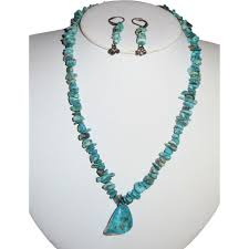 natural turquoise nugget necklace earrings set vicky j estate beads jewelry ruby lane